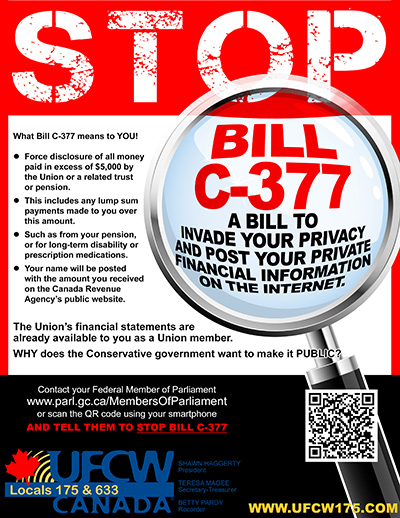 Poster by the United Food and Commercial Workers opposing Bill C-377. (Credit: ucfw175.com)