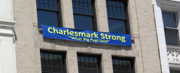 "The Charlesmark Hotel, next to Copley Square, shows its support for ""Boston Strong"". (If you don't get the reference, look up the speech that the Red Sox's David ""Big Papi"" Ortiz gave at the first Red Sox home game after the bombings.)"