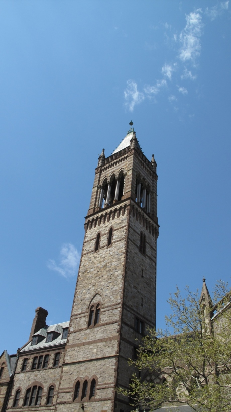 The tower of Old South Church near Copley Square, a block away from the Marathon finish line.