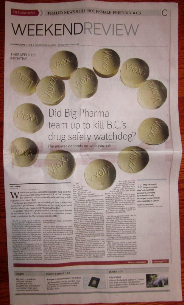 Front page of July 13 Vancouver Sun section C, with start of the Therapeutics Initiative story.