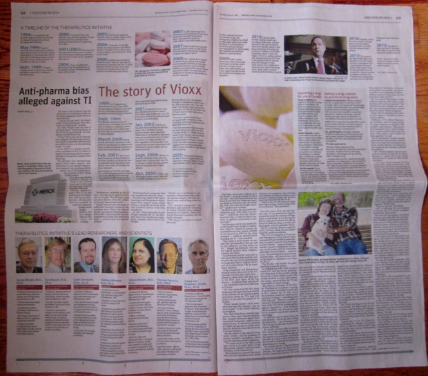 Pages C2 and C3 of July 13 Vancouver Sun C section.