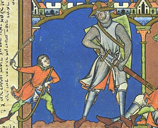 David and Goliath, from a 11th century Italian manuscript. (credit: Wikimedia commons)