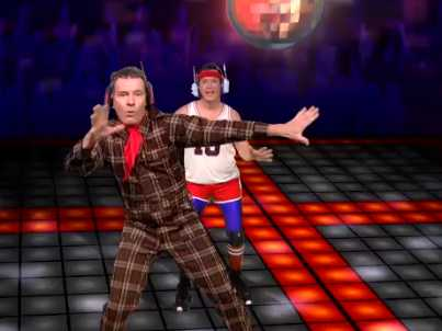 Bryan Cranston and Stephen Colbert dancing to Daft Punk's 'Get Lucky'. (credit: businessinsider.com)
