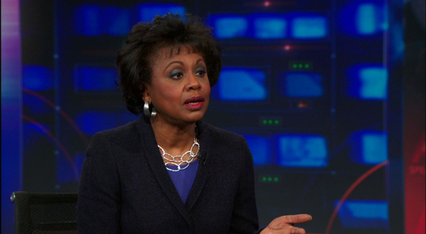 Anita Hill on The Daily Show with Jon Stewart, March 13, 2014. (credit: thecomedynetwork.ca)