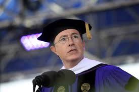Stephen Colbert addresses the 2011 graduating class of Northwestern University. (credit: suntimes.com)