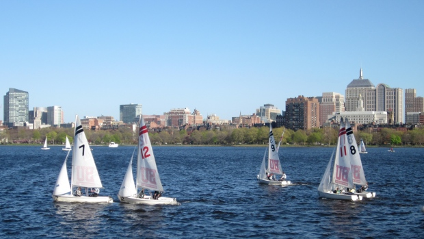 The Boston University sailing club practicing on the Charles River, May 2013.