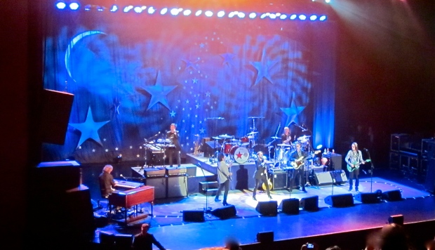 Ringo Starr and the All-Starr Band in concert, July 15, 2014. (L-R) Gregg Rolie (ex-Santana and Journey), keyboards; Warren Ham, keyboards/percussion; Steve Lukather (ex-Toto), guitar; Ringo Starr; Gregg Bissonette (ex-David Lee Roth band), drums; Richard Page (ex-Mr. Mister), bass; Todd Rundgren (solo and Utopia), guitar. (credit: own photo)