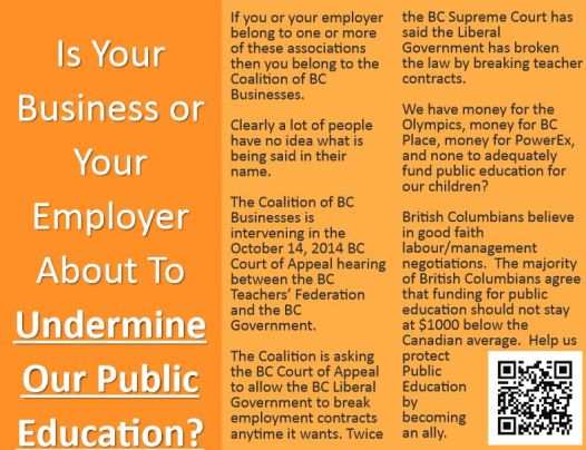 Part of a newspaper advertisement sponsored by the Allies of BC Public Education group. (credit: Facebook/ Allies of BC Public Education)