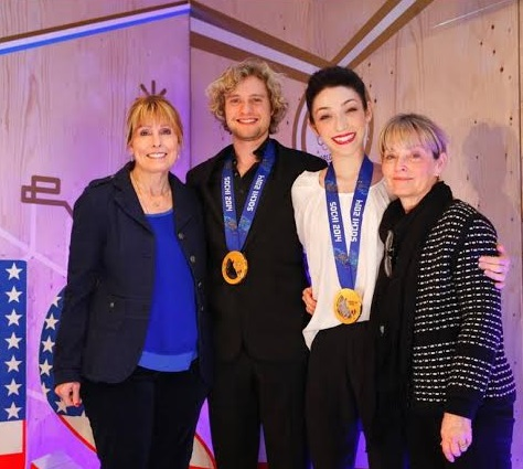 Jacqui White, Charlie White, Meryl Davis, and Cheryl Davis at the 2014 Winter Olympics in Sochi, Russia.