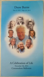 The program for Drew's memorial service at the Commodore. (credit: own photo)