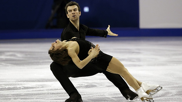 Eric Radford and his skating partner Meagan Duhamel competing in the pairs free skate at the 2015 world figure skating championship. (credit: cbc.ca)