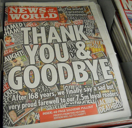 The last edition of the News of the World, July 10, 2011. The newspaper was shut down after 168 years of publication after its involvement in phone hacking was revealed. (credit: Mikey/Flickr)