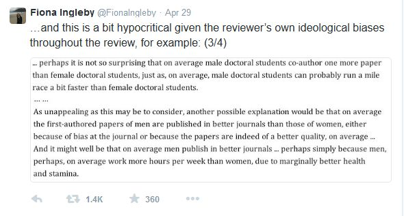 One of Fiona Ingleby's Tweets that included excerpts from the anonymous peer review. (credit: @FionaIngleby/Twitter)