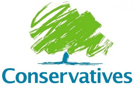 "This is the Conservative Party logo that was on the very few roadside signs in Somerset. But to me the signs looked like someone was accusing the Conservatives of erasing green space, because of the scribbled ""tree"". (credit: conservatives.com)"