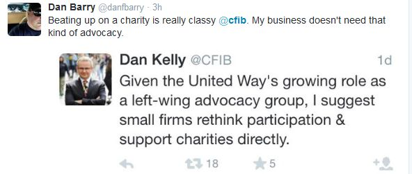 Dan Kelly's original Tweet about the United Way, with a response from an angry CFIB member. (credit: Twitter)