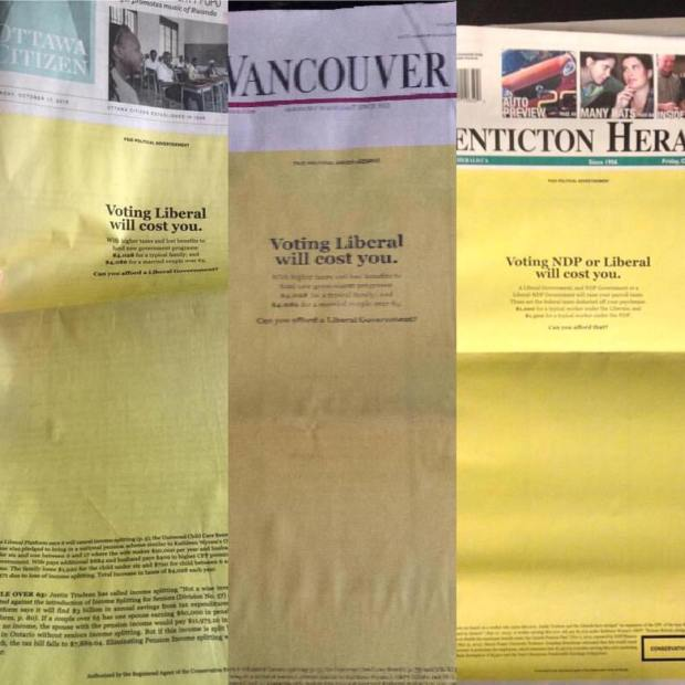 The front pages of three of Postmedia's newspapers on Friday, October 16, 2015. (credit: Todd Barriage/Instagram)